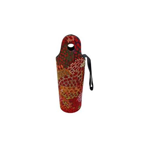 Utopia Aboriginal Art Neoprene Water Bottle Cooler - Fire Sparks 2