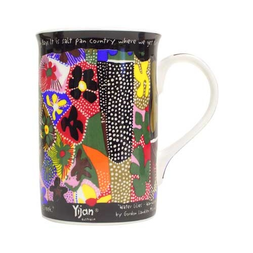 Yijan Aboriginal Boxed Bone China Mug - Waterlillies