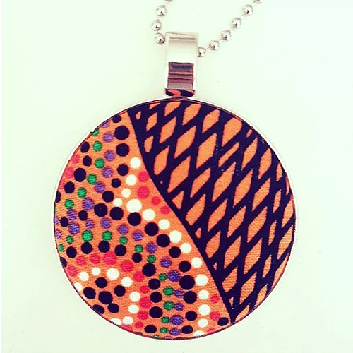 Aboriginal design Fabric Pendant - Salt Lake (Orange)