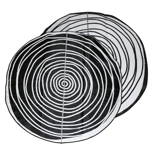 Aboriginal Recycled Mat - 2.7m Round - Evoloution [Colour: Black/White]