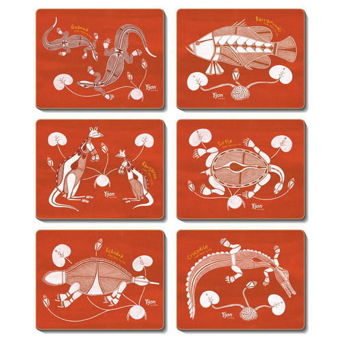 Jijaka Aboriginal Art Boxed Coaster Set (6) - Lily Lagoon