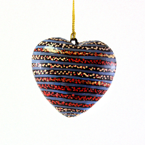 Better World Aboriginal Art Heart Xmas Decorations (Large) -Water Dreaming