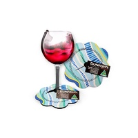 Bunabiri Aboriginal Art Neoprene Wine Glass Coaster - Rainbow Reef (Blue)