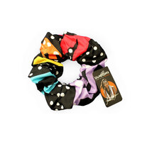 Bunabiri Aboriginal Art Cotton Hair Scrunchie - Rainbow River (Black)