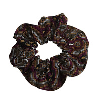 Bulurru Aboriginal design Hair Scrunchy - On Walkabout (Wine)