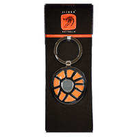 Jijaka Aboriginal Art Boxed metal Keyring - Centre Camp (Orange)