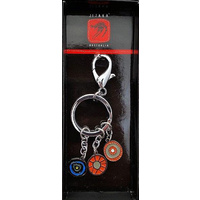 Jijaka Aboriginal Art Boxed metal Keyring - Centre Camp (Orange) [3 pce]