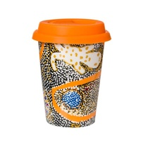 Papulankutja Aboriginal Art Insulated Porcelain Travel Mug - Wati Kutjara