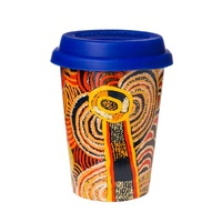 Papulankutja Aboriginal Art Insulated Porcelain Travel Mug - Multju (Mulga Country)