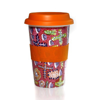 Aboriginal Bone China Eco Travel Mug - Bush Medicine Plants