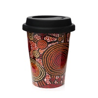 Warlukurlangu Aboriginal Art Insulated Porcelain Travel Mug - Emu Dreaming
