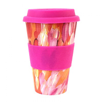 Aboriginal All Natural Bamboo Eco Travel/Coffee Mug (450ml) - Leaves (Pink)