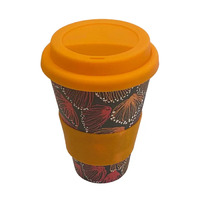 Aboriginal All Natural Bamboo Eco Travel/Coffee Mug (450ml) - Gum Blossums