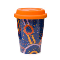 Warlukurlangu Aboriginal Art Insulated Porcelain Travel Mug - Water Dreaming
