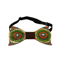 Handpainted Aboriginal Art Timber Giftboxed Bowtie - Brown