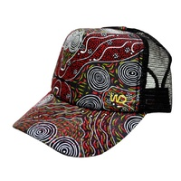 Warrina Aboriginal Art 6 Panel Baseball Cap - Bush Camp