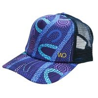 Warrina Aboriginal Art Giftboxed 6 Panel Baseball Cap - Gathering by the River