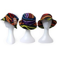 Bunabiri Aboriginal Art Cotton Bucket Hat - Rainbow River