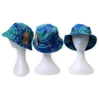 Bunabiri Aboriginal Art Cotton Bucket Hat - Wet Season