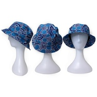 Bunabiri Aboriginal Art Cotton Bucket Hat - Rivers Around