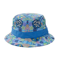 Warrina Aboriginal Art Cotton Bucket Hat - Corroboree Blue