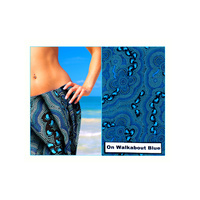 Bulurru Aboriginal design Australia Made Cotton Sarong - On Walkabout (Blue)