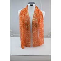 Balarinji Aboriginal Art Silk Chiffon Scarf - Bushvines (Orange)