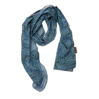 Bulurru Aboriginal Dot Art Cotton Chiffon Scarf - On Walkabout (Blue)