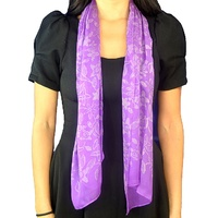 Jijaka Aboriginal Art Silk Chiffon Scarf - Bush Flower (Purple)