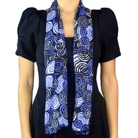 Jijaka Aboriginal Art Silk Chiffon Scarf - Riverstones (Purple)