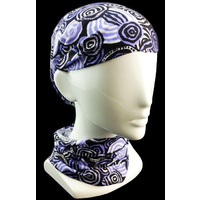 Jijaka Aboriginal Art Multi Headscarf - Riverstones (Purple)
