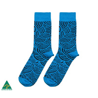 Warlukurlangu Aboriginal Art Australia Made Men's Cotton Socks - Mina Mina Dreaming Blue
