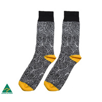 Warlukurlangu Aboriginal Art Men's Cotton Socks - Mina Mina Dreaming