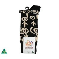 Warlukurlangu Aboriginal Art Men's  Cotton Socks - Yuendamu Door 16
