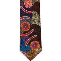Bulurru Aboriginal Dot Art Silk Tie - Man's Ceremony (Blue)