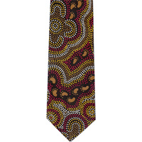 Bulurru Aboriginal Dot Art Silk Tie - On Walkabout