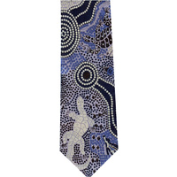 Bulurru  Aboriginal Dot Art Silk Tie - Waterhole Dreaming (Blue)