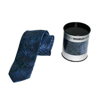 Better World Aboriginal Art Woven Silk Tie - Yalka - Bush Onion (Blue)
