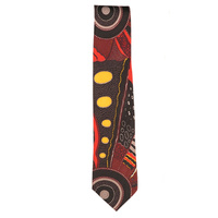 Outstations Aboriginal design Polyester Tie - Norman Cox (Red)