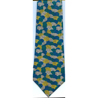 Scorched Earth Aboriginal Art Polyester Tie (T6003)-Teal (Water Dreaming)