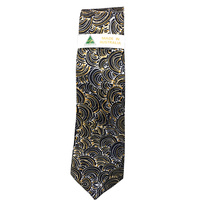 Scorched Earth Aboriginal Art Polyester Tie - WARLU3 (Navy)