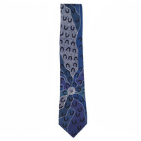 Yijan Aboriginal Art Polyester Tie - Crow Women (Blue)
