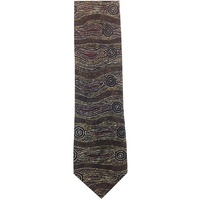 Yijan Aboriginal Art Polyester Tie - Water Dream (Brown)