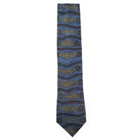 Yijan Aboriginal Art Polyester Tie - Water Dream (Grey/Blue)