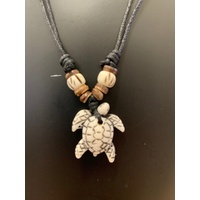 Brown/White Turtle Leather Necklace