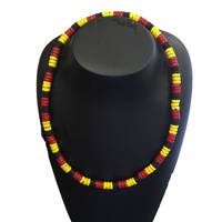 Aboriginal Stretch Necklace - Tri-Colour Wooden Bead