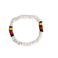 Aboriginal Stretch Wristband - White 3 Colour