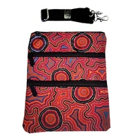 Hogarth Aboriginal Art 3 Zip Canvas Shoulder Bag - Pathways 2