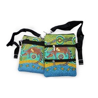 Bunabiri Aboriginal 3 Zip Shoulder Bag - Crocodile Dreaming
