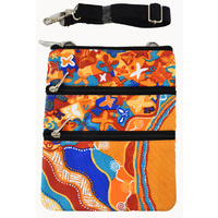 Jijaka Aboriginal Art 3 Zip Canvas Shoulder Bag - Joy of Sound